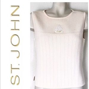 ST. JOHN CREST KNIT CREAM RIBBED SHELL TOP SZ S
